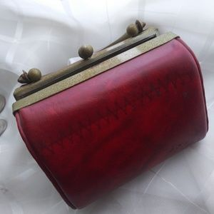 Red leather Vintage tiny purse